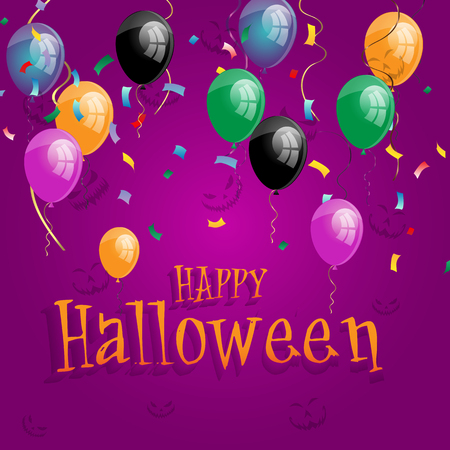 Vector happy halloween holiday poster with black, orange air balloons with happy halloween on purple background. Traditional trick or treat kids event decoration Illustration