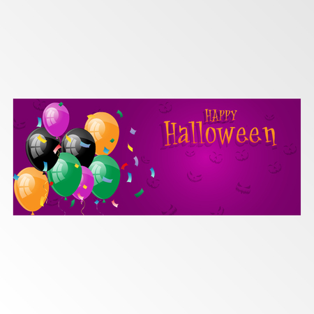 Halloween Horizontal Banner with Balloon Garlands Decorations. Vector Illustration. Party Decor in Traditional Colors. Trick or Treat. Holiday Greetings, Confetti and Serpentine