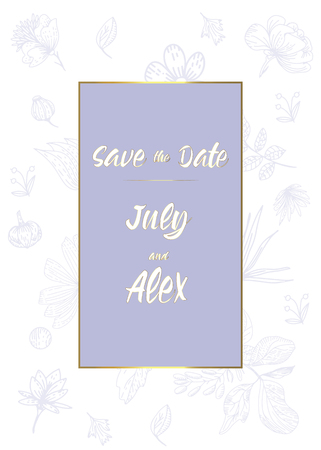 wedding party invitation and Save The Date card templates with Lily of the valley flowers hand drawn with black contour lines on white background. Beautiful floral vector illustration.