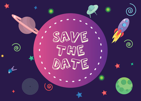 save the date with 2018 trend colors in spcace composion background.Eps 10.vector illustration Illustration