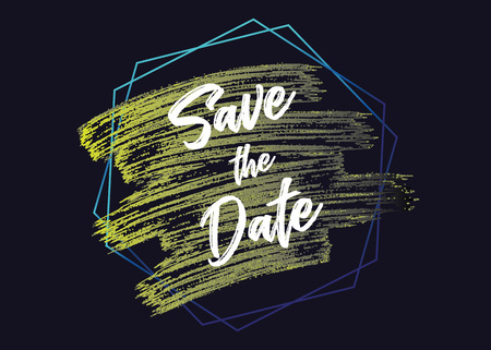 save the date celebreting with 2018 trend color. Shiny watercolor brush. vector illustration. EPS 10