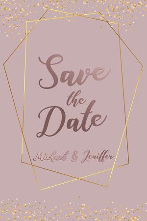 Wedding invitation, thank you card, save the date card. Wedding invitation, baby shower, menu, flyer, banner template with calligraphy, confetti, background. Elegant luxury wedding invitation. Illustration