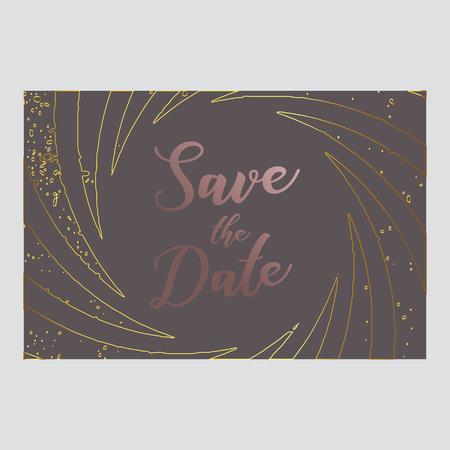 save the date postcard. Rose pink gold color paletts. Typography and modern design.vector illustration. EPS 10 Illustration