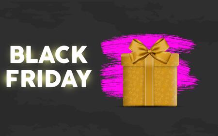 black friday sale sale landing page with purple suprise packet in black gradient background. vector illustration. EPS 10