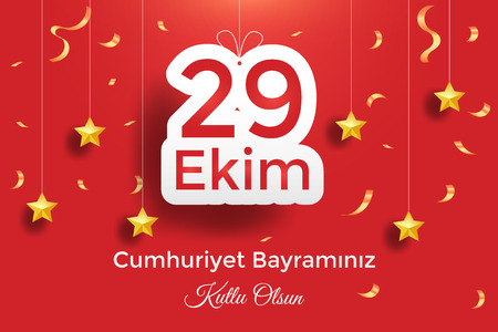 Turkish National Festival. 29 Ekim Cumhuriyet Bayrami. Translation: Happy October 29th Republic Day. National Day in Turkey. Typographic design for social media or print design.