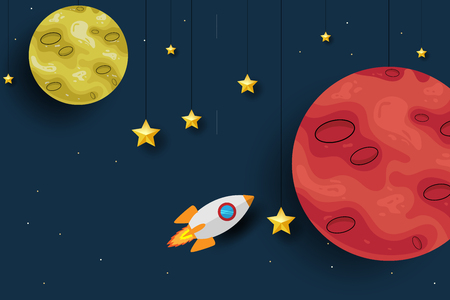 Mars planet with rocket paper art design background. Cute design. Cartoon space background. Vector illustration. EPS 10
