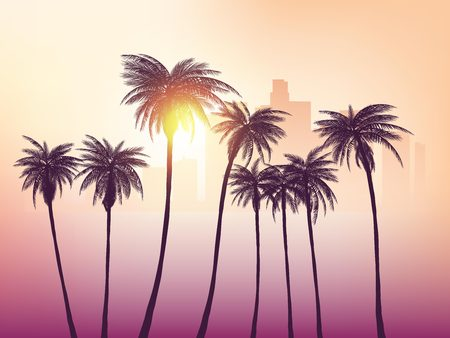 Los Angeles skyline with palm trees in the foreground  イラスト・ベクター素材