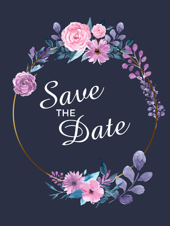 Save the date invitation card. Modern design template with elements. Modern trend colors. Illustration