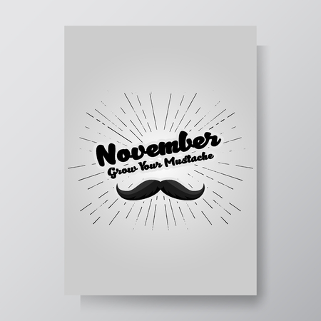 Hand drawn mustache textured vector illustration. November Prostate Cancer Awareness Month Design with Blue Ribbon and Mustache. Men Healthcare Concept.