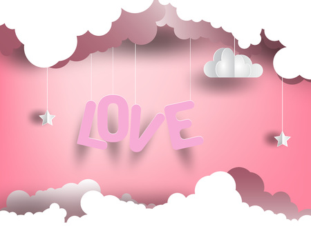 Hanging love lettering between clouds. Pink background and paper art.EPS 10. vector illustration.