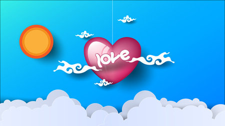 heart of love looks through the clouds. Sun shines on blue background. Paper art. vector illustration. EPS 10 Çizim