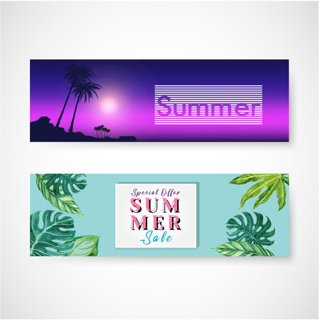 The set of three horizontal banners on a summer theme. Vector illustration Çizim