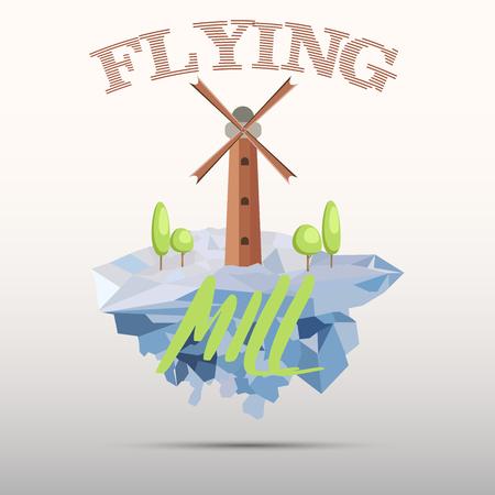windmill and trees on iceberg. flat design. t-shirt and logo design. Illustration
