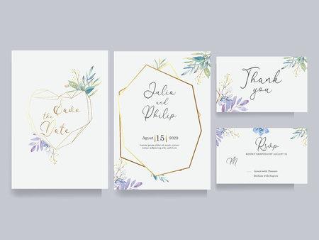 Save the date wedding invite set. Modern Geometric watercolor floral set Çizim
