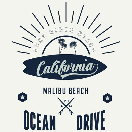 Vector illustration on the theme of surf and surfing in Californiai, Malibu Beach. Vintage design. Grunge background. Typography, t-shirt graphics, print, poster, banner, flyer, postcard