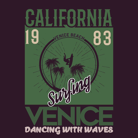Vector illustration on the theme of surfing and surf in California, Venice beach. Vintage design. Retro design. Purple background. Typography, t-shirt graphics, print, poster, banner, flyer, postcard