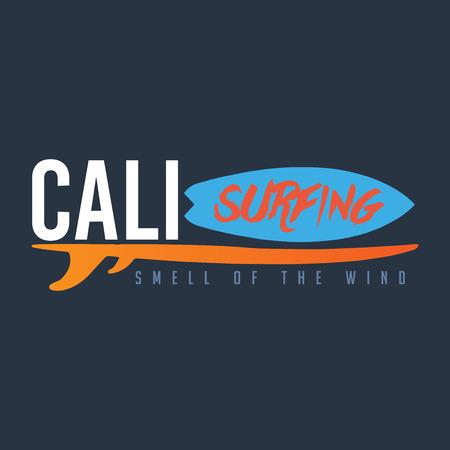 Calisurfing brand name, logo,  t-shirt graphics, print, poster, banner, flyer, postcard. Smell of the wind. Illustration
