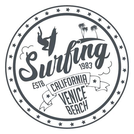 Venice Beach, clásico de surf de Californiai. Impresión de la moda de la ropa de la camiseta de la mano de la acuarela del vintage. Gráficos retro de la camiseta de la vieja escuela. Diseño tipográfico personalizado. Arte tipográfico dibujado a mano. Ilustración de vector