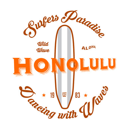 Hawaii, Honolulu beach vector illustration for t-shirt and other uses Çizim