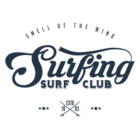 Surf club retro badge with board. Surfing concept for shirt or logo, print, stamp. Vector illustration