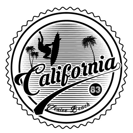 California, Los Angeles, Venice Beach - typography for design clothes, t-shirt with palm trees. Graphics for print product, apparel. Vector illustration. Stock Vector - 123212640