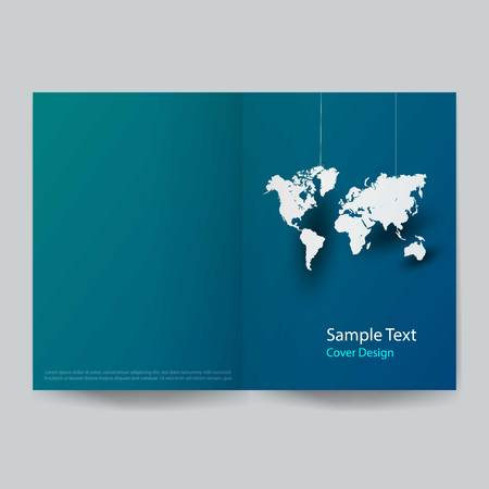 Paper art global business cover design. vector illustration Çizim