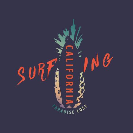 Summer California Surfing t-shirt design. Vector illustartion.