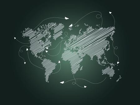 World Travel Travel Plan an paper airplanes- Illustration Çizim