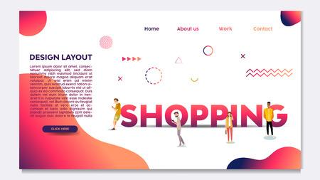 Men, Shopping, Animation character, App, Link Illustration