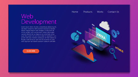 Modern flat design isometric concept of Web Development for website and mobile website. Landing page template. Easy to edit and customize. Vector illustration Çizim