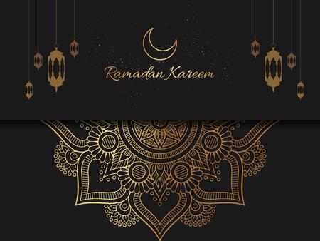 Ramadan Kareem islamic arabic greeting caligraphy and islamic geometric background card design. vector illustration