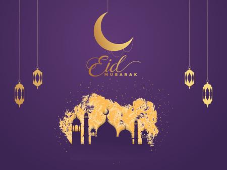 Ramadan Kareem islamic arabic greeting caligraphy and islamic geometric background card design. vector illustration. Illustration