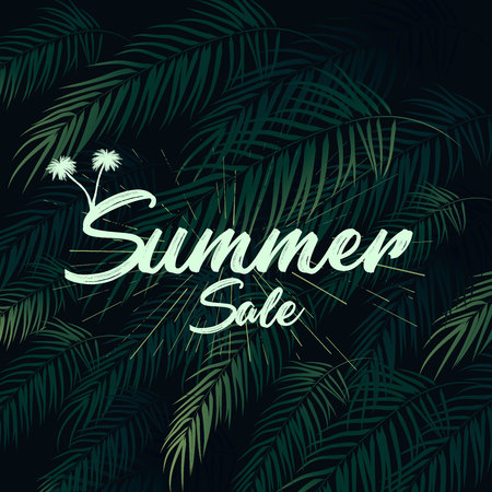 Summer tropical vector design for banner or flyer with dark green palm leaves and lettering Stock Vector - 123212832