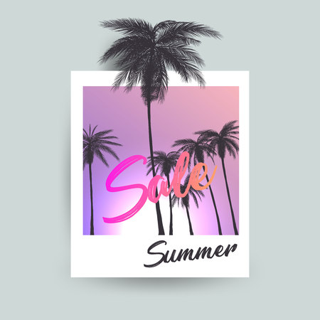 Summer Sale polaroid creative design. Vector illustration.