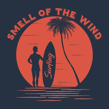 Summer t-shirt design. Smell of the wind slogan. Vector illustration.