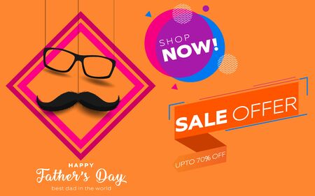 Happy Father's Day crown mustache background. Vector illustration. EPS 10