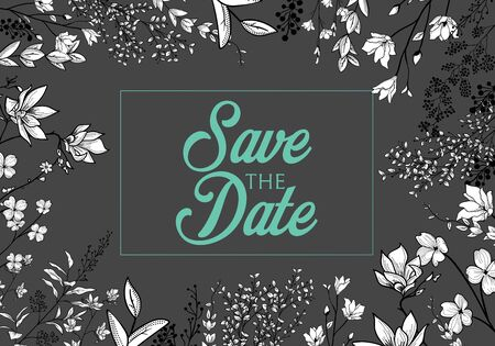 Set of wedding party invitation and Save The Date card templates with Lily of the valley flowers hand drawn with black contour lines on white background. Beautiful floral vector illustration. Illustration