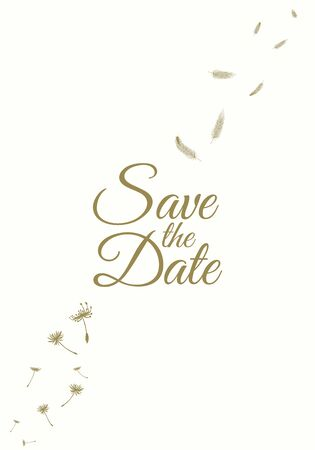 Set of wedding party invitation and Save The Date card templates with Lily of the valley flowers hand drawn with black contour lines on white background. Beautiful floral vector illustration. Ilustração