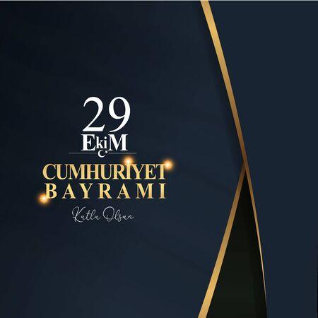 29 ekim Cumhuriyet Bayrami kutlu olsun, Dzień Republiki Turcja. Tłumaczenie: 29 października Dzień Republiki Turcji, szczęśliwe wakacje. Ilustracja wektorowa