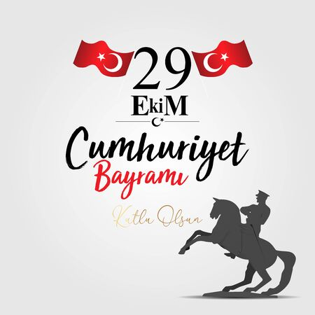 29 ekim Cumhuriyet Bayrami kutlu olsun, Republic Day Turkey. Translation: 29 october Turkey Republic Day, happy holiday. Vector illustration Ilustração