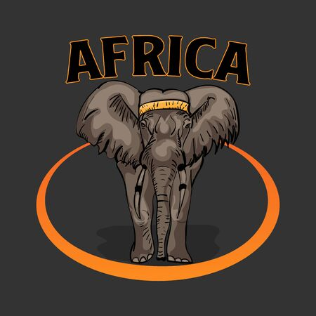 African elephant drawn on a dark background made of flats for t-shirt design.vector illustration.