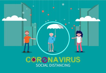 Virus attacks people vector illustration. Individuals representing social distance to prevent the spread of the virus. Flat vector illustration.