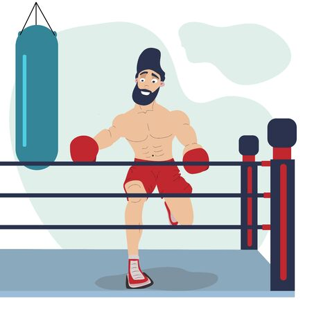 A flat character that makes box sports to look fit. vector illustration.