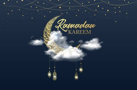 A minimal Ramadan celebration image decorated with oil lamps specific to Islamic culture and containing a crescent unique to Islamic culture. vector illustration.