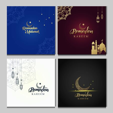 Ramadan Kareem set of designs or invitations design with islamic lanterns, stars and moon on gold and violet background. Vector illustration. Place for text.