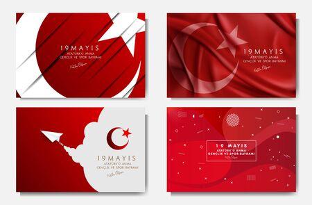 vector illustration 19 mayis Ataturk'u Anma, Genclik ve Spor Bayramiz , translation: 19 may Commemoration of Ataturk, Youth and Sports Day, graphic design to the Turkish holiday, vector set