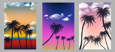Summer tropical backgrounds set with palms, sky and sunset. Summer placard poster flyer invitation card. Summertime. Vector illustration