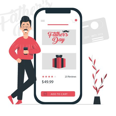 Father's day add to chart mobile marketing concept. Minimalist design. Vector illustration. EPS 10
