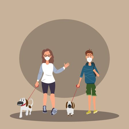 masked young couple strolling with their pets