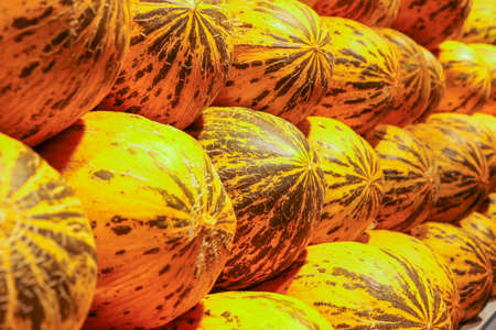 melons ready to be sold in market aisle